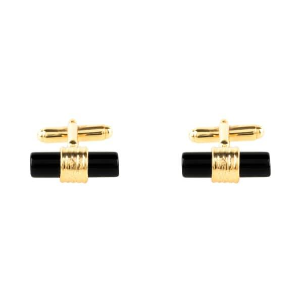 Latelita London Cylindrical Cufflink Gold Black Onyx