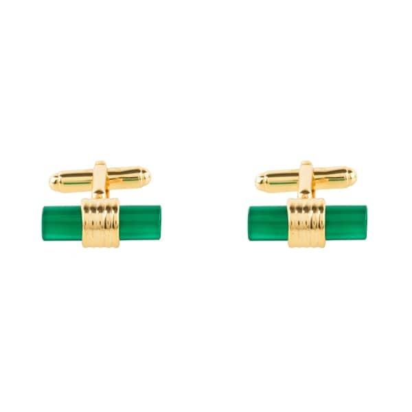 Latelita London Cylindrical Cufflink Gold Green Onyx