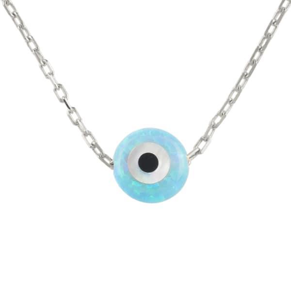 Latelita London Mini Opalite Evil Eye Necklace Sterling Silver