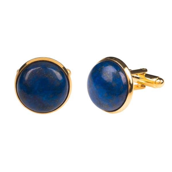Latelita London Round Cabochon Cufflink Gold Lapis Lazuli
