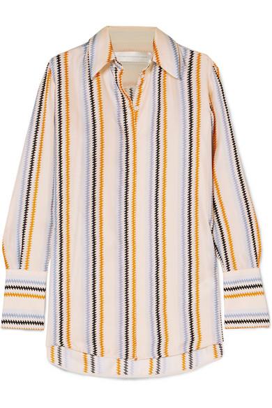 Victoria Victoria Beckham Fluid Stripe-Print Silk Twill Shirt In Beige