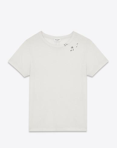 Saint Laurent Classic Short Sleeve T-shirt In Ivory And Black Sl Musical Notes Printed Cotton Jersey In White
