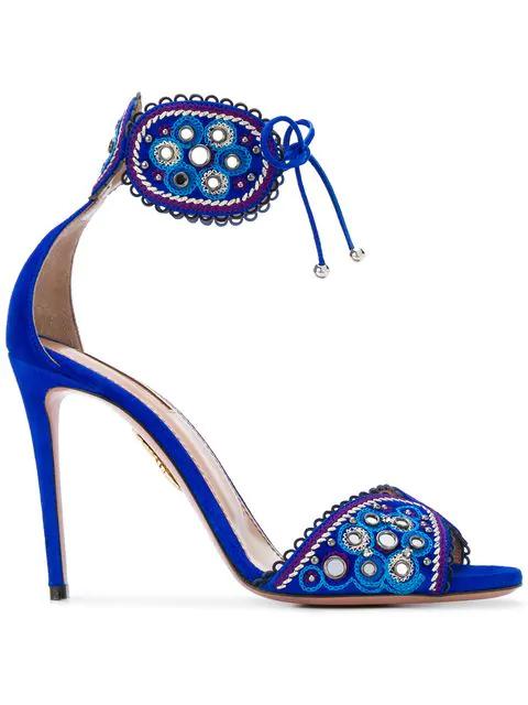 Aquazzura Jaipur 105 Sandals In Blue Bell