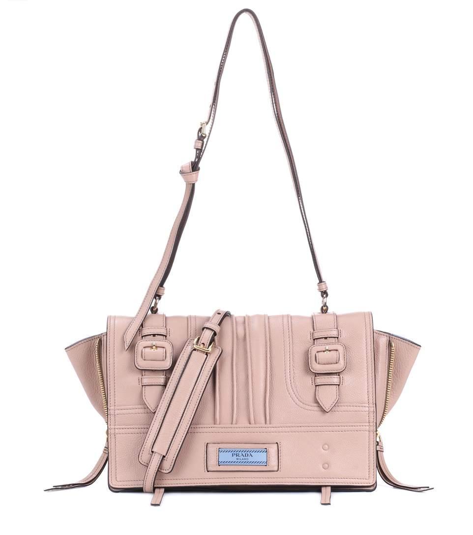 b045178ae12e71 Prada Etiquette Leather Shoulder Bag In Pink | ModeSens