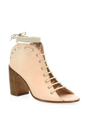 Ann Demeulemeester Leather Lace-Up Open Toe Ankle Boots In Panna