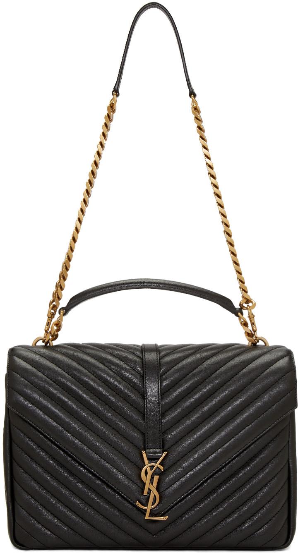 Saint Laurent CollÈge Large Quilted-leather Shoulder Bag In Black