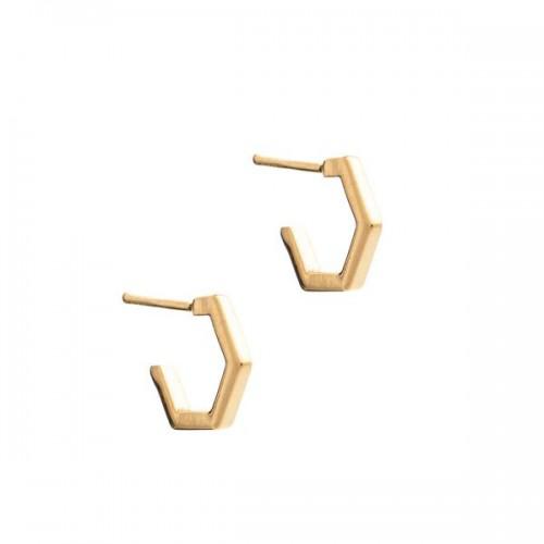 Rachel Jackson London Diamond Hexagon Hoop Earrings Gold In 22 Gold Plated