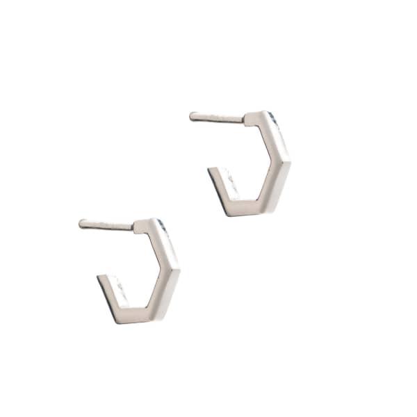 Rachel Jackson London Mini Hexagon Hoop Earrings  Silver