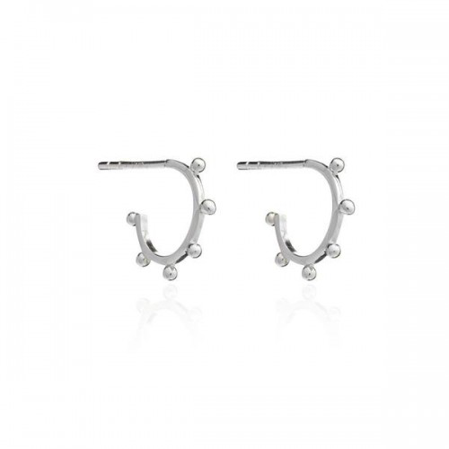 Rachel Jackson London Mini Punk Hoop Earrings Silver