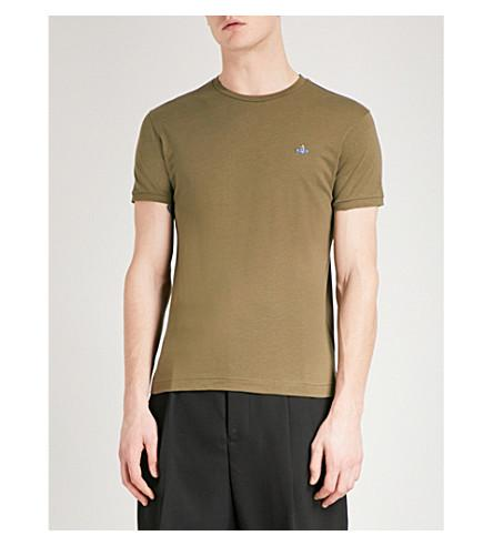 Vivienne Westwood Logo-Embroidered Cotton T-Shirt In Olive