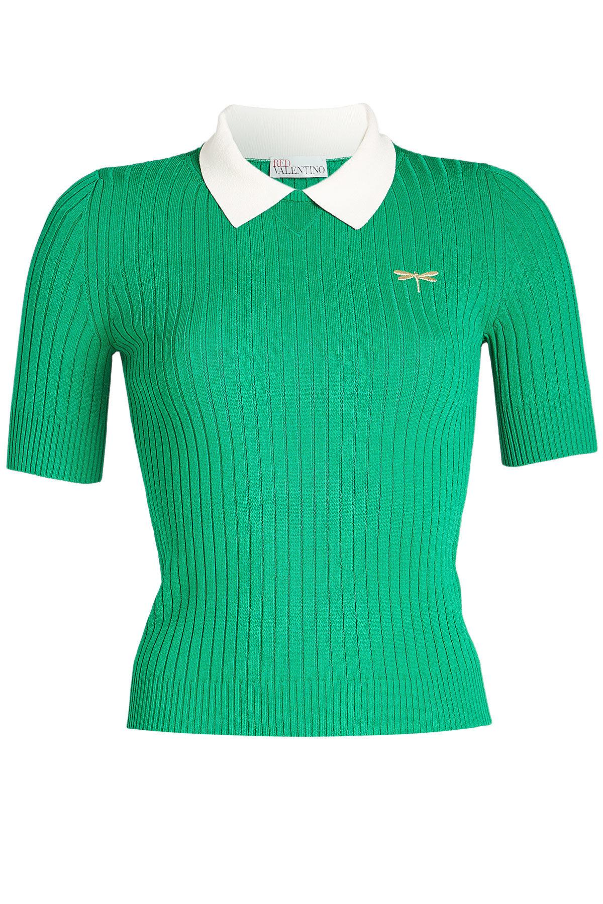 Red Valentino Ribbed Knit Top In Green