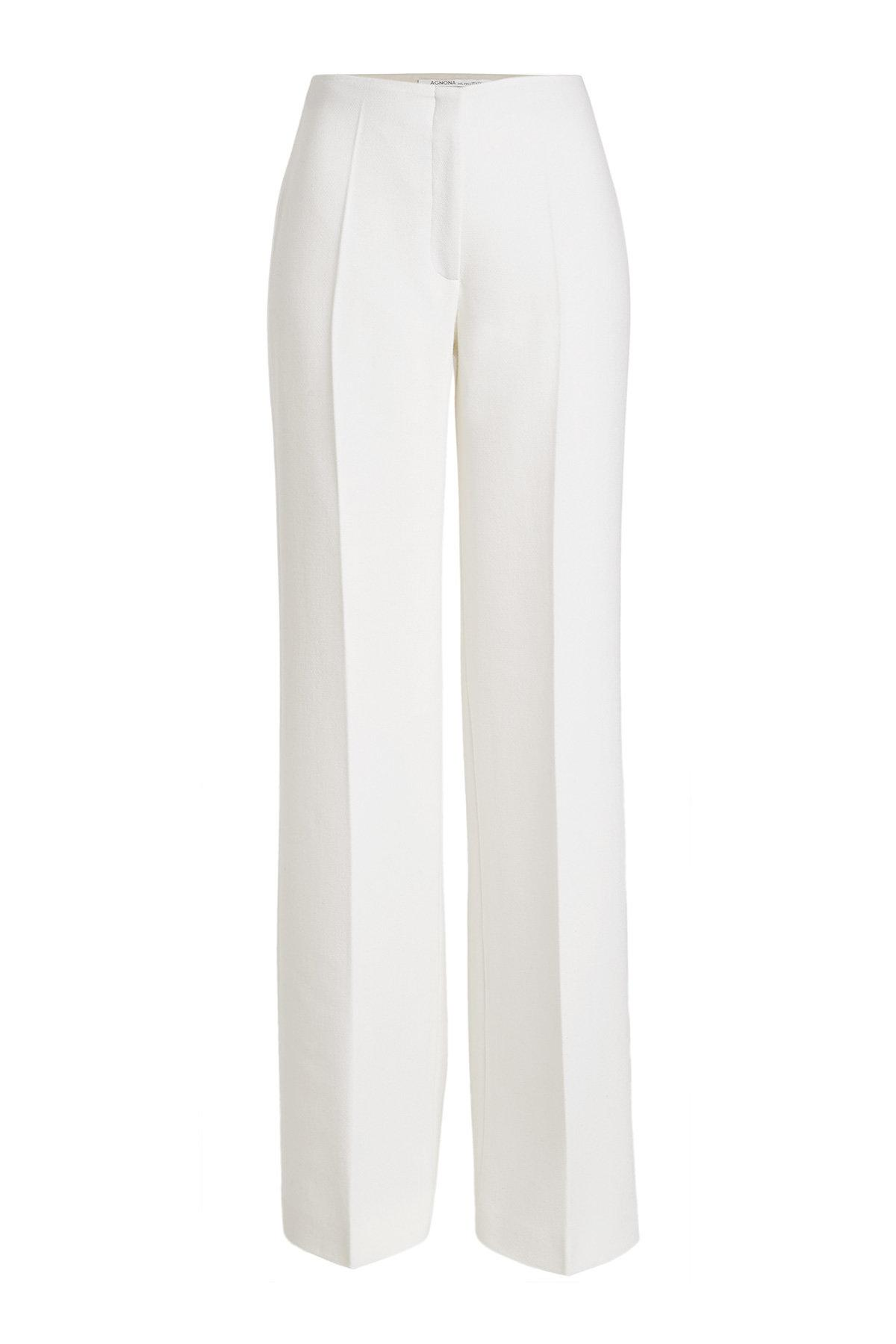 Agnona Wool Wide-leg Trousers In White