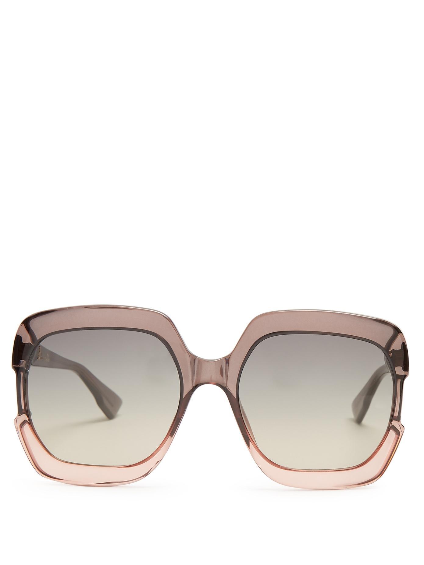 14f5073c51a Dior Gaia Square-Frame Acetate Sunglasses In Grey Multi