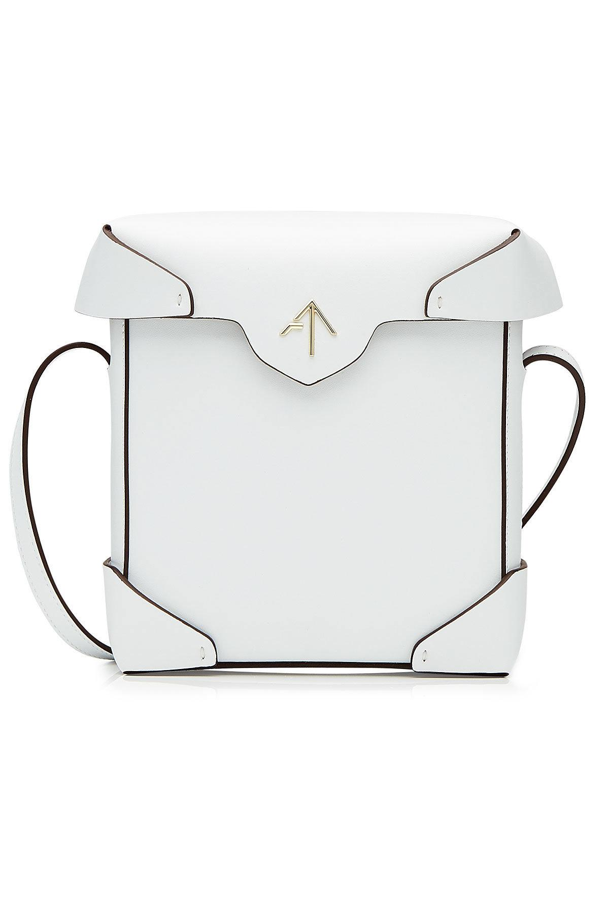 Manu Atelier Mini Pristine Leather Shoulder Bag In White