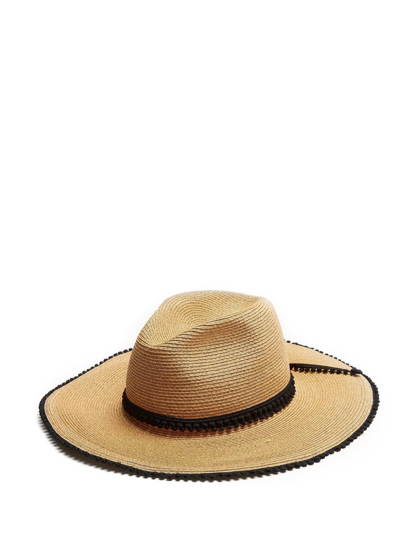 40cc1672 FilÙ Hats Batu Tara Pompom-Trimmed Straw Hat In Black Multi | ModeSens