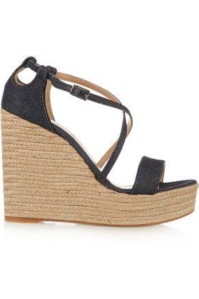 Tabitha Simmons Jenny Denim Espadrille Wedge Sandals In Dark Denim