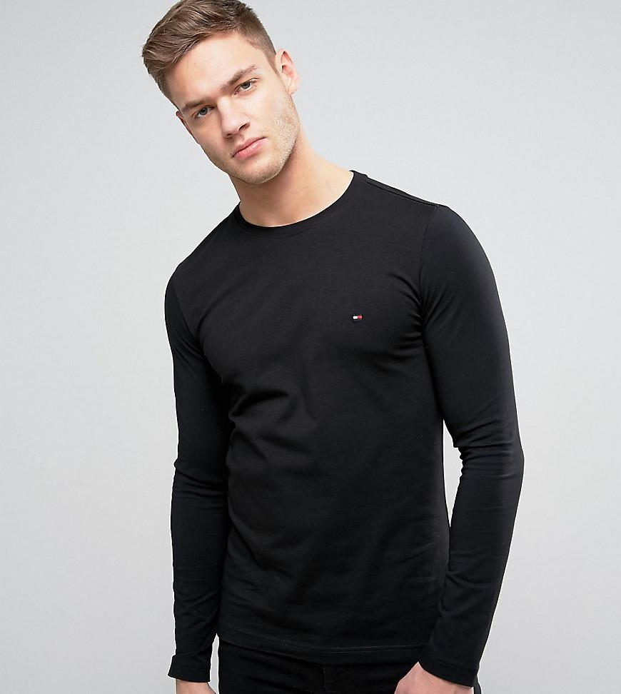 2263e2f40 Tommy Hilfiger Long Sleeve Top Flag Logo In Black Exclusive At Asos - Black
