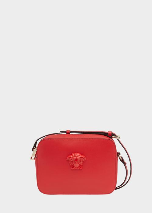 Versace Palazzo Calf Leather Shoulder Bag In Red