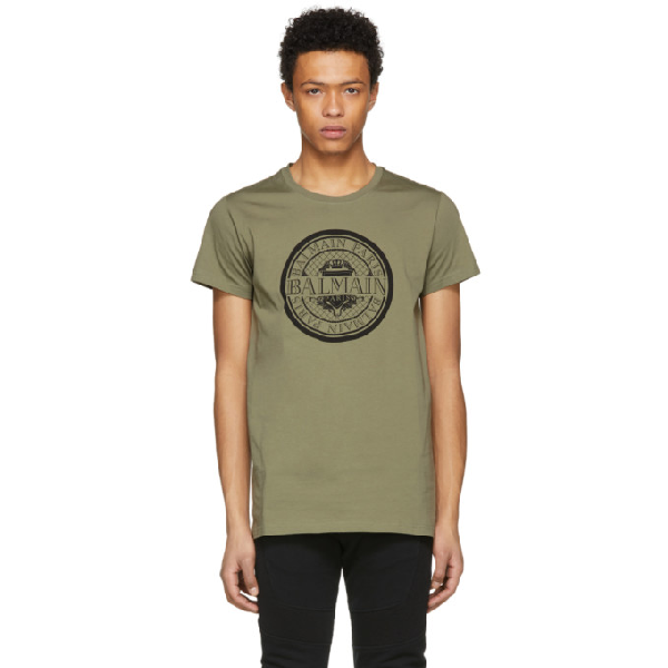 Balmain Slim Fit Coin Logo Cotton Jersey T-Shirt In 147 Kaki