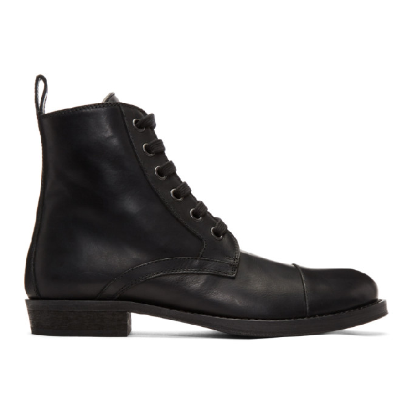 Ann Demeulemeester 20Mm Leather Combat Boots In 099 Black
