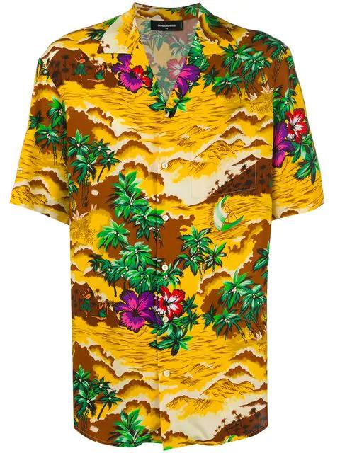 8f788b54f Dsquared2 Hawaii Printed Viscose Bowling Shirt In Multicolour | ModeSens