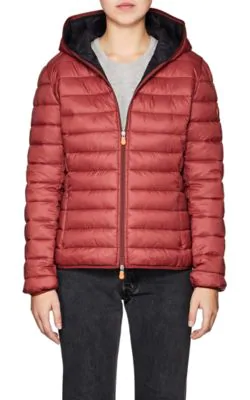 Save The Duck Channel-Quilted Tech-Fabric Jacket In Burgundy/992