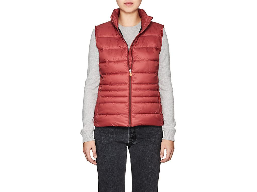 Save The Duck Channel-Quilted Tech-Fabric Vest-Burgundy,992 In Burgundy/992