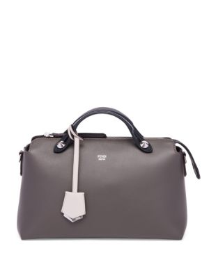 Fendi By The Way Small Bicolor Satchel In Coal