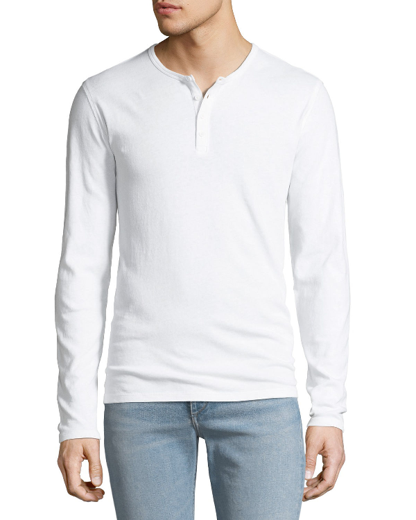 Vince Men's Long-Sleeve Raw Edge Henley Shirt In White