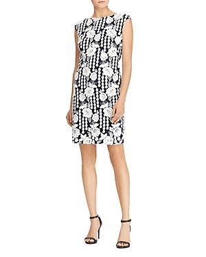Ralph Lauren Lauren  Floral Geometric-Lace Dress In Navy/White