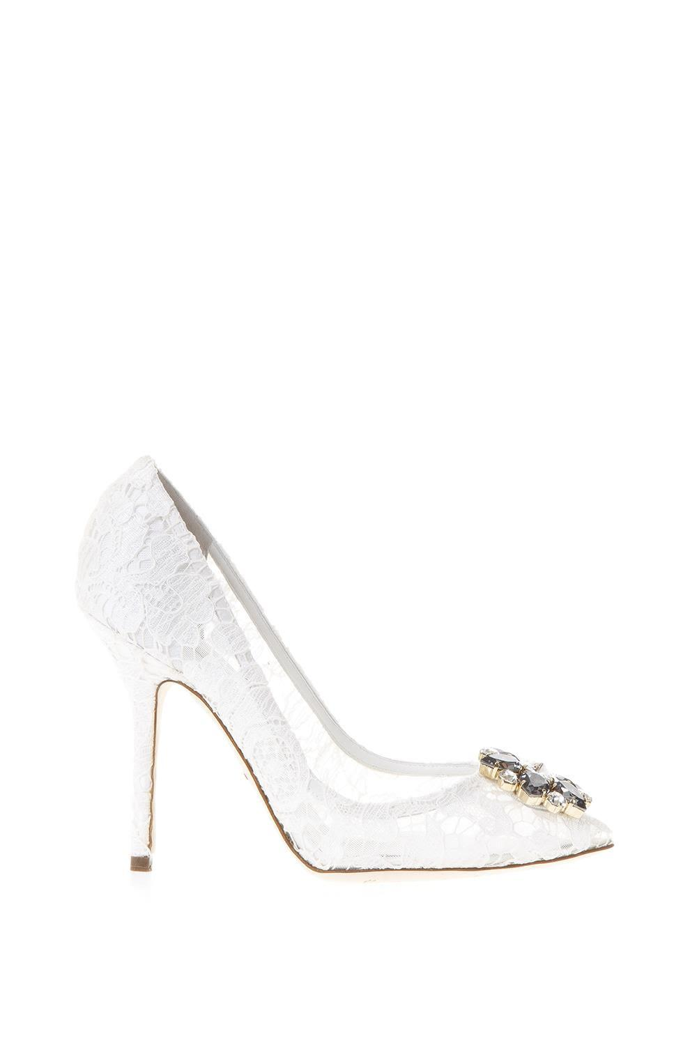 Dolce & Gabbana Taormina Lace Open Toe Court Shoes With Embroidery In White