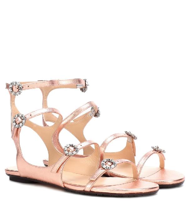 f6e06e981ff Jimmy Choo Naia Flat Tea Rose Metallic Nappa Leather Sandals With Swarovski  Crystal Buckles In Pink