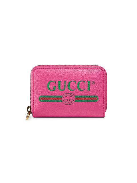 Gucci Print Leather Card Case In Pink