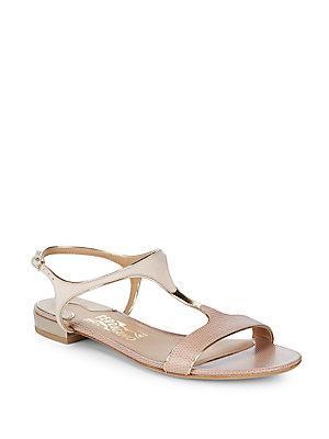 Salvatore Ferragamo Leather Open Toe Sandals In Mandorla