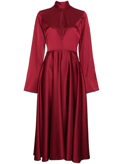 Beaufille Flared Sleeved Midi Dress In Red
