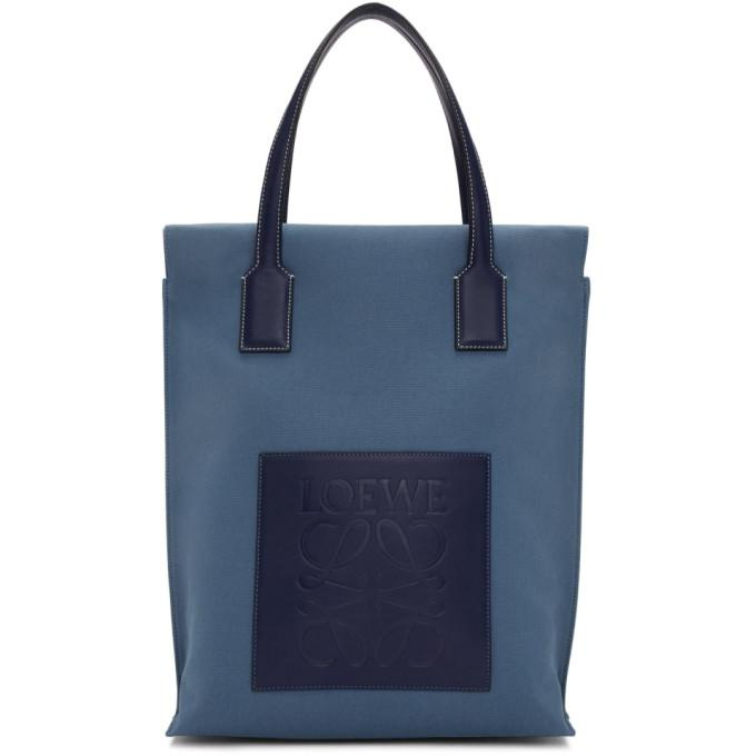 46d948bd9a Loewe Pre-Owned: Shopper Tote Canvas North South In Blue Navyblu ...