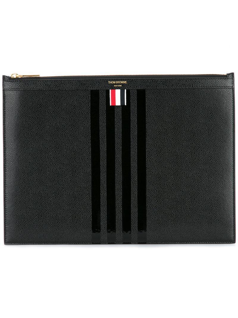 5eb00283afb Thom Browne Medium Zipper Document Holder (35X25 Cm) With Tonal 4-Bar Stripe