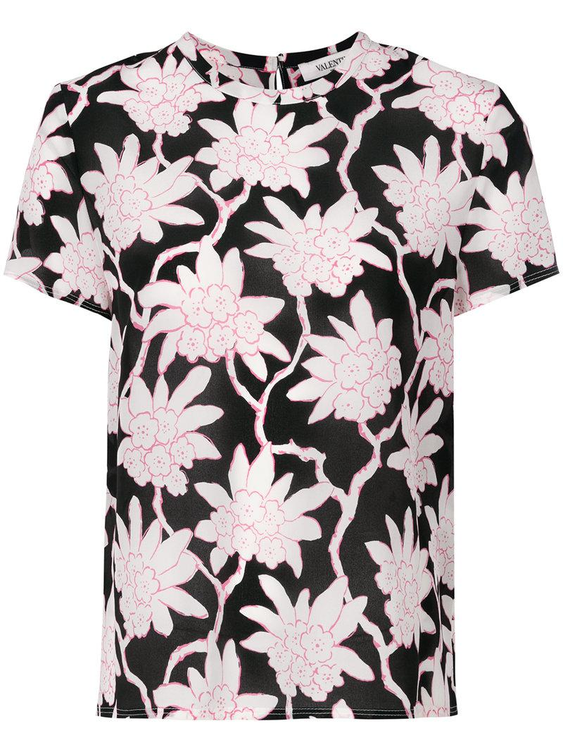 Valentino Popflowers Print Top - Black