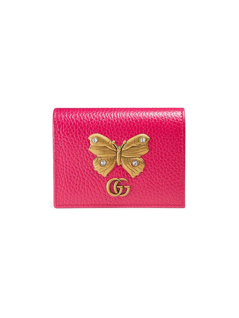 ec4828e5935a46 Gucci Leather Card Case With Butterfly - Pink | ModeSens