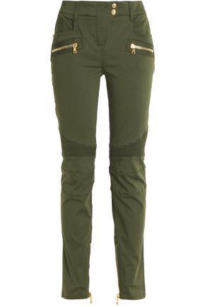 Balmain Woman Moto-Style Cotton-Blend Skinny Pants Green