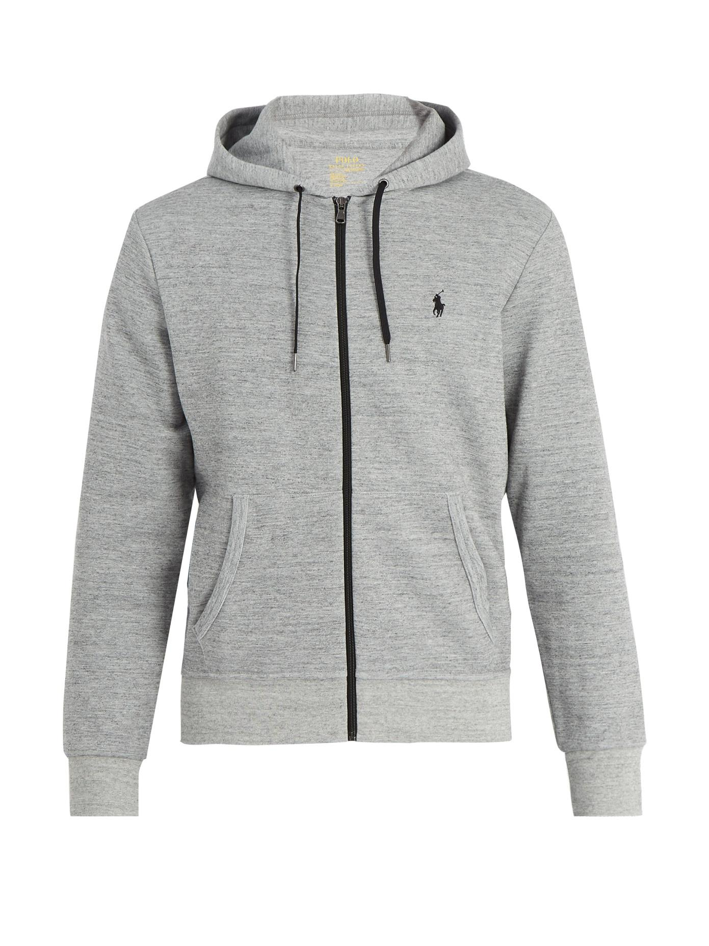 dd90be1a5 Polo Ralph Lauren Hooded Zip-Through Interlock-Jersey Sweatshirt In Grey