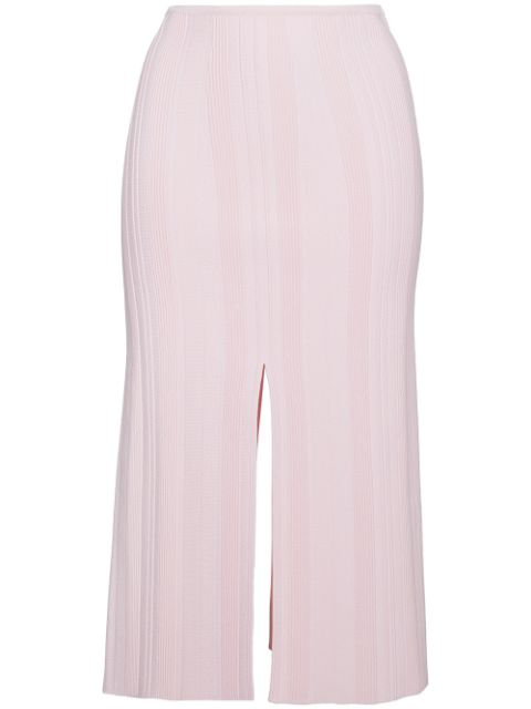 Proenza Schouler Ribbed Stretch-knit Midi Skirt In Pink