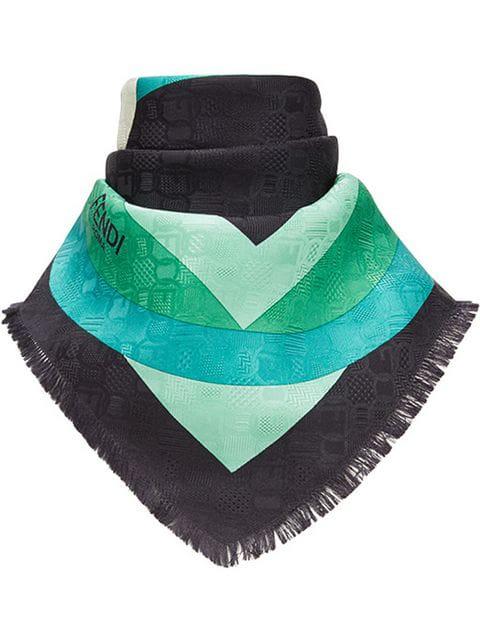 a0fe31ef9ae5 Fendi Circle-Print Silk Scarf In Green