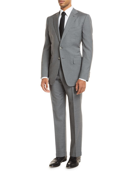 Tom Ford Pinstripe Two-Piece Wool Suit In Light Gray