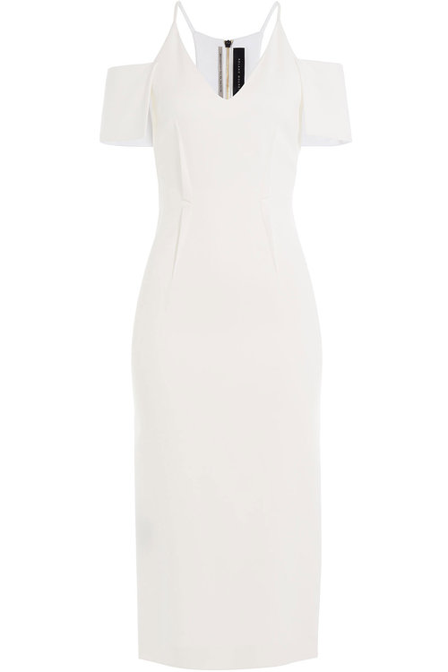 Roland Mouret Sheath With Cutout Shoulders In White