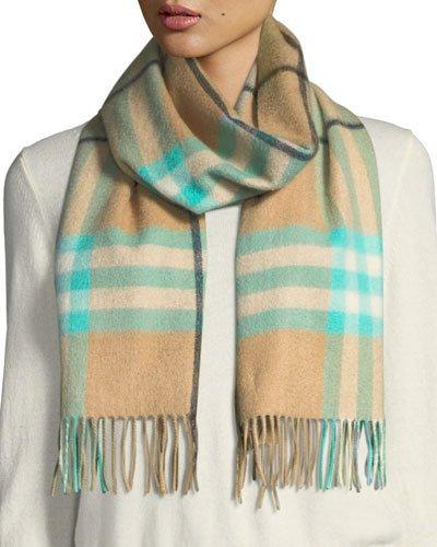 Burberry Fluoro Giant Check Cashmere Scarf In Blue