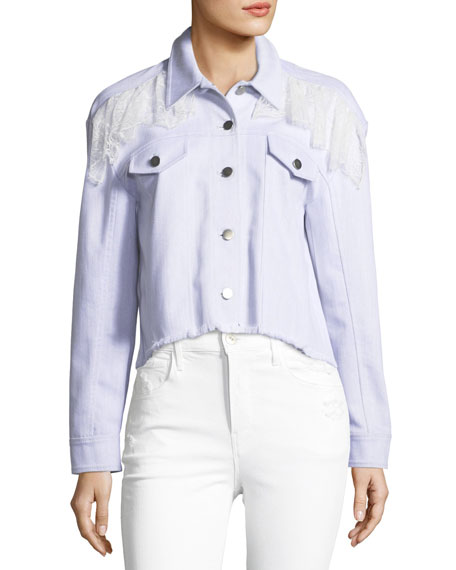 Cinq À Sept Ismay Button-Front Cropped Denim Jacket With Lace In White