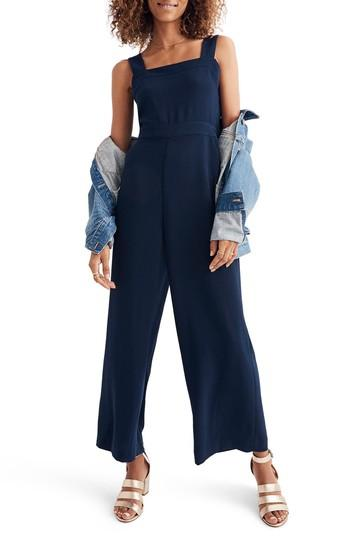 dcd58c8f7e6 Madewell Apron Bow Back Jumpsuit In Deep Navy