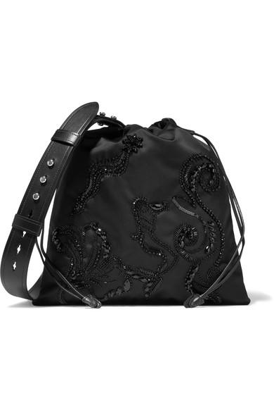 Prada Leather-trimmed Embellished Shell Shoulder Bag