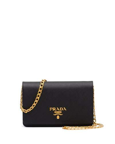 4e6d17216cc487 Prada Wallet On A Chain Textured-Leather Shoulder Bag In Black ...